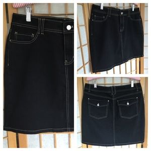 White House Black Market Black Denim Skirt SZ 8